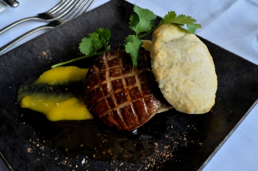 Seared Hudson Valley Foie Gras: Ginger Biscuit, Mango Puree, Tandoori Spice