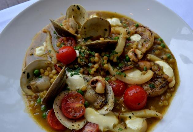 Saffron Fregola Sarda, Sepia, Littleneck Clams, Wild Shrimp, Peas, Aïoli