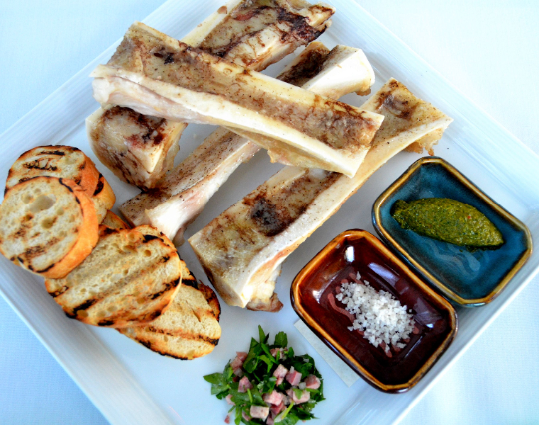 Roasted Bone Marrow, Chimichurri, Pickled Tongue Salad, Smoked Salt