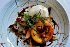 Burrata Cheese, Pan Roasted Peach, Chanterelle Mushrooms,