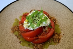 Hothouse Tomato Salad: Burrata, Burnt Tortilla Crumble, Tomatillo Salsa