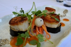 Seared Day Boat Sea Scallops, Sesame Peanut Noodle Sushi, Pickled Vegetable Salad, Miso Vinaigrette