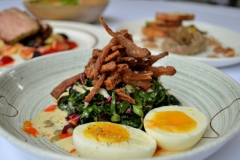 Crispy Pig's Ears: 7 Minute Egg, Kale, Lentils, Rosemary Caper Vinaigrette, Hot Sauce