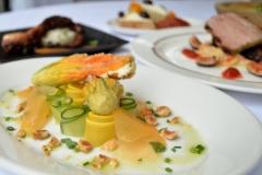 Tempura Squash Blossom: Goat Cheese, Cucumber, Melon, Hazelnuts, Tarragon