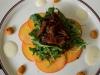 Peach Carpaccio, Crispy Duck Confit, Spiced Almonds, Arugula, Prosecco Vinaigrette